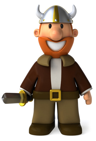 Cartoon viking man with sword smiling