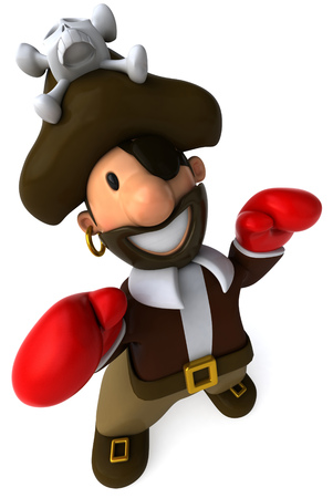 padding: Cartoon pirate with boxing gloves