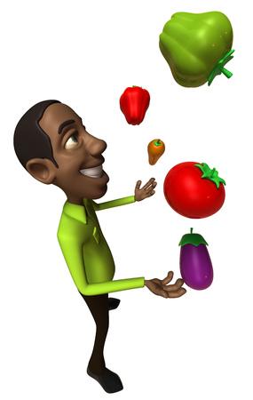 Cartoon casual man juggling fruits and vegetables
