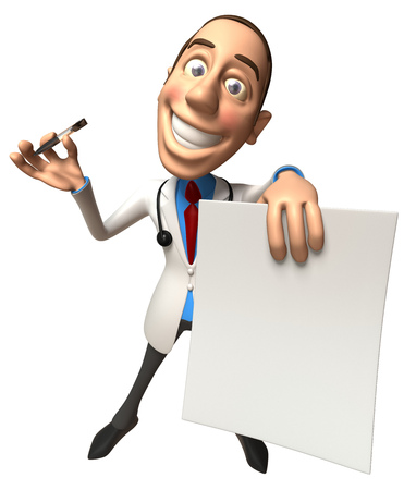 Cartoon doctor with a pen and a paper