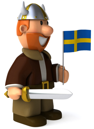 Cartoon viking man with sword holding Flag of Sweden
