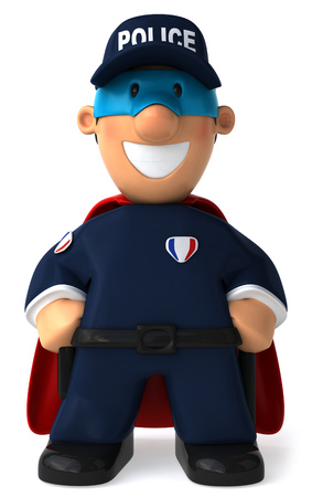 jobs: Cartoon policeman with superhero disguise Stock Photo