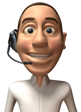 Cartoon casual man with headphones