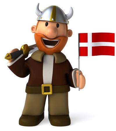 danish flag: Cartoon viking man with sword holding Flag of Denmark