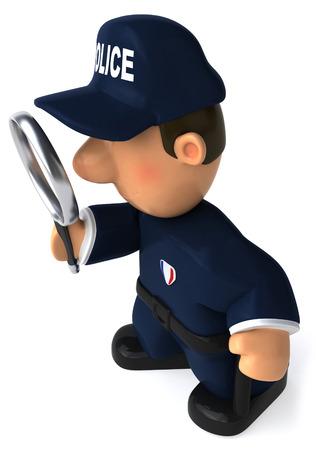 虫眼鏡で漫画警官