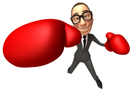 Cartoon businessman punching
