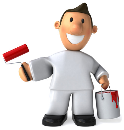 Cartoon worker with paint roller and paint bucket
