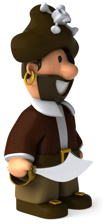 Cartoon pirate with sword standing