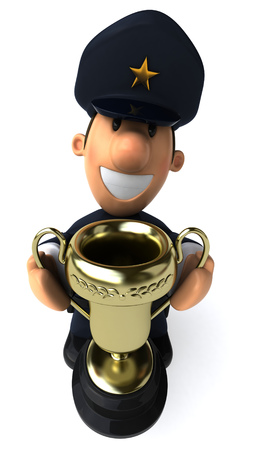 Cartoon policeman holding a trophy