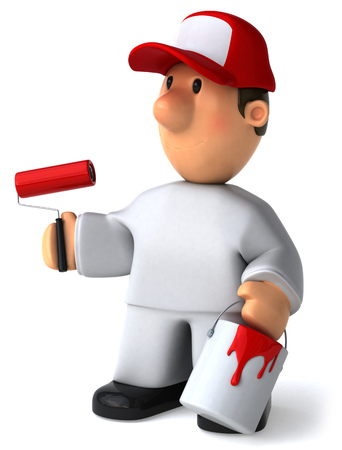 Cartoon worker with paint roller and bucket Stock Photo
