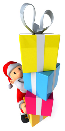 festive occasions: Cartoon santa claus with a stack of gift boxes Stock Photo