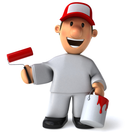 handy man: Cartoon worker with paint roller and bucket smiling Stock Photo
