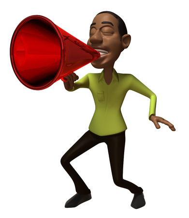 Cartoon casual man shouting into megaphone
