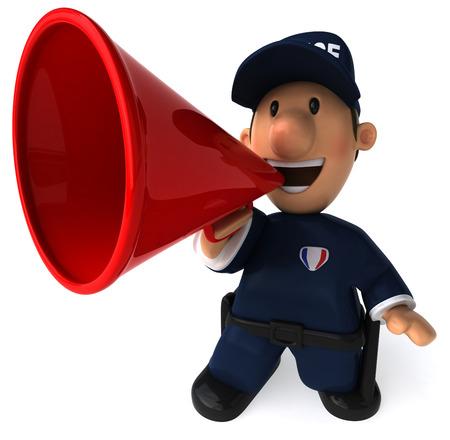 メガホンに叫んで漫画警官