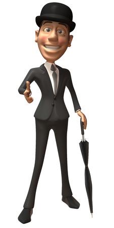 Cartoon gentleman pointing