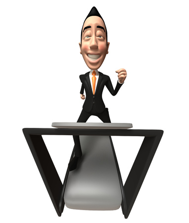 Cartoon businessman running on treadmill