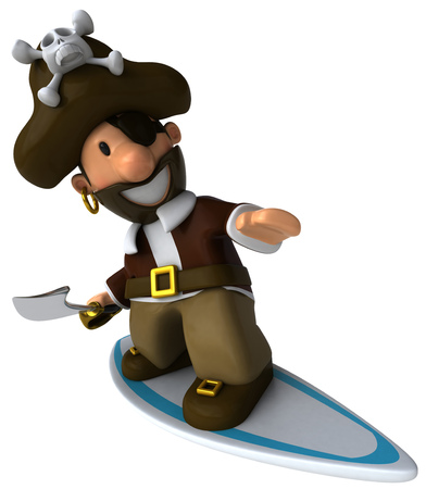 eyepatch: Cartoon pirate with sword surfing Stock Photo