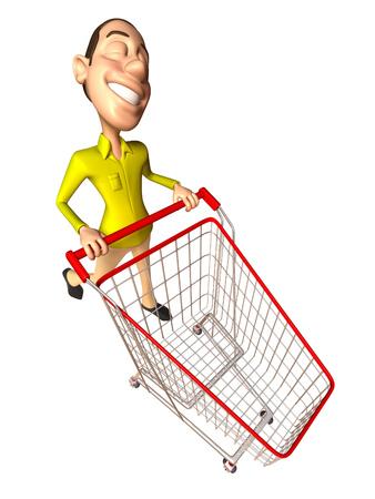Cartoon casual man pushing a shopping cart