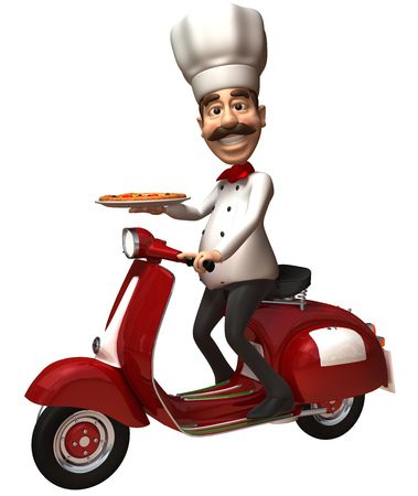 Cartoon chef with pizza riding on a scooter
