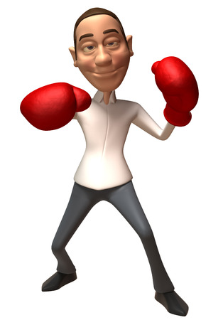 Cartoon casual man with boxing gloves