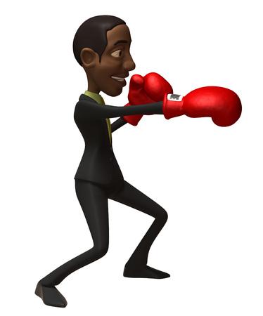 Cartoon businessman punching
