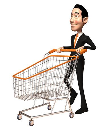 Cartoon businessman pushing a shopping cart