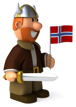 Cartoon viking man with sword holding Flag of Norway