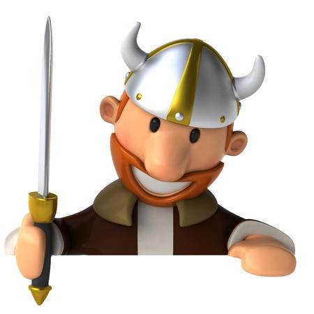 Cartoon viking man with sword looking downward