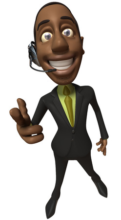 Cartoon businessman with headset pointing