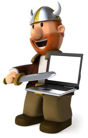 Cartoon viking man showing a laptop