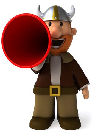 Cartoon viking man shouting into megaphone