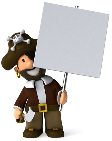 eyepatch: Cartoon pirate holding a placard