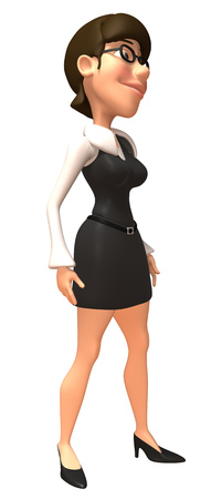 Cartoon businesswoman standing