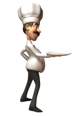 Cartoon chef with an empty plate
