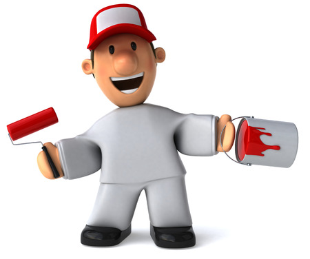 handy man: Cartoon worker with paint roller and bucket Stock Photo