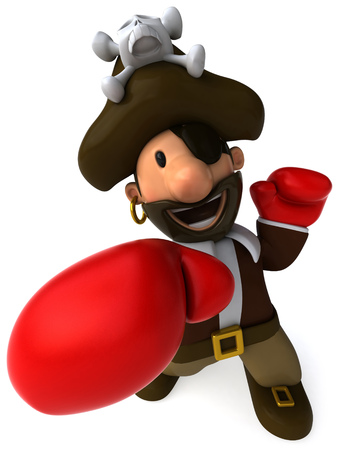 piracy: Cartoon pirate punching