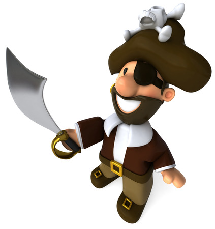 Cartoon pirate with sword smiling Stock Photo