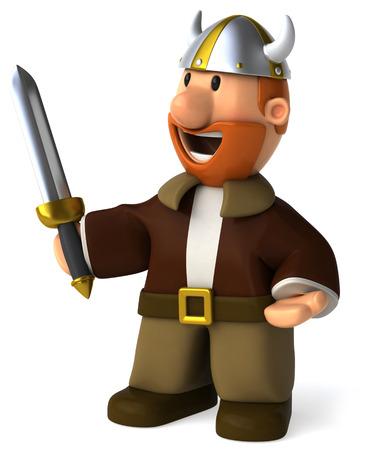 Cartoon viking man with sword standing