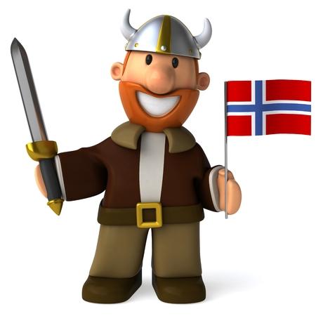 ノルウェーの旗を保持して剣を持つ漫画バイキング男