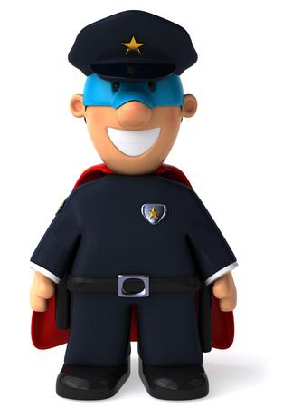 漫画のスーパー ヒーローの変装と警官