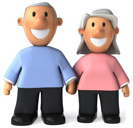 Happy cartoon senior couple Banco de Imagens