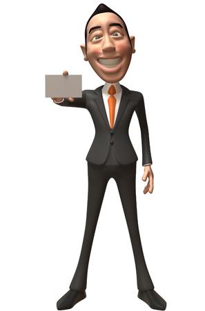 Cartoon businessman showing a name card Stock Photo