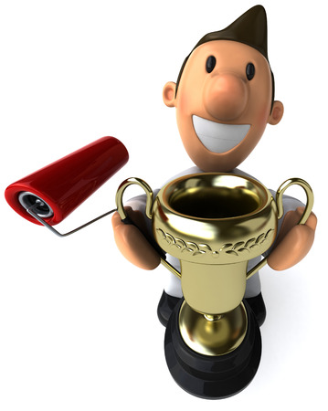 Cartoon worker with paint roller holding a trophy