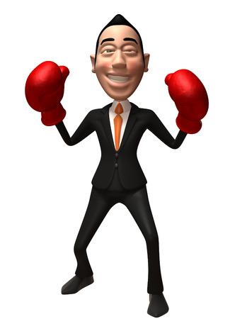punching: Cartoon businessman with boxing gloves Stock Photo