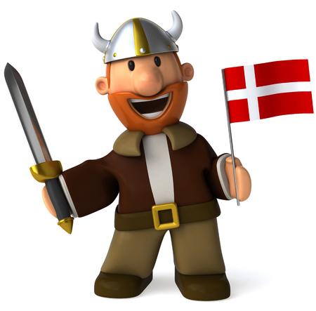 Cartoon viking man with sword holding Flag of Denmark