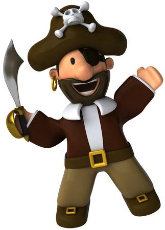 eyepatch: Cartoon pirate with sword Stock Photo