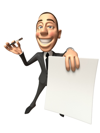 Cartoon businessman with a paper and a pen Stock Photo