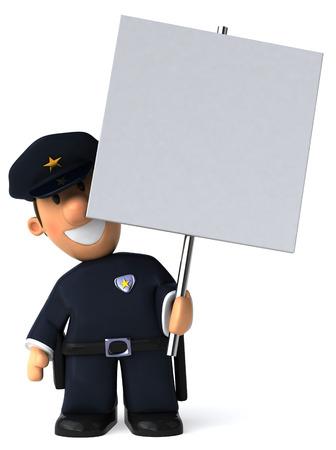 プラカードを持って漫画警官