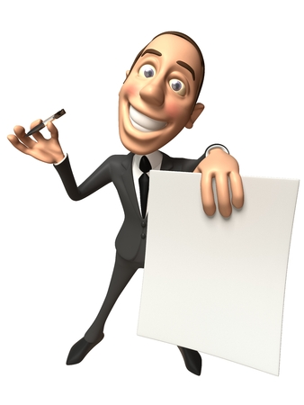 Cartoon businessman with a paper and a pen Stock fotó