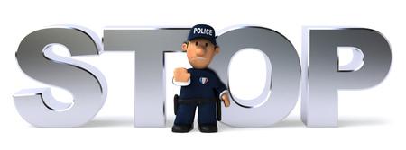 一時停止の標識を示す漫画警官